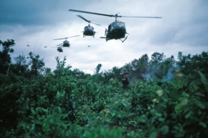 US Huey helicopters approach landing zone in Vietnam