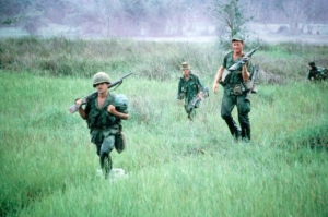 Sgt Smith leads his platoon off LZ in Vietnam