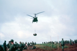 soldiers get supplies before mission